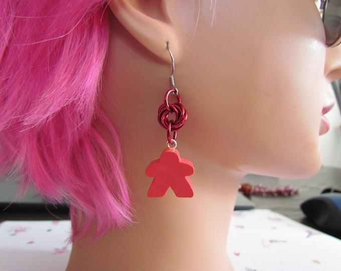Meeple Rosette Earrings RED