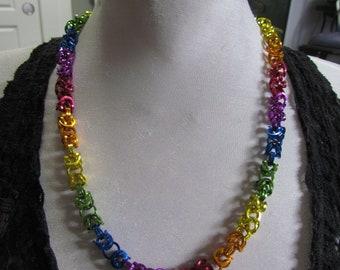 Pride Flag Byzantine Chain Necklace RAINBOW