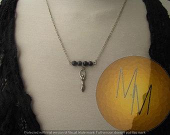 CLEARANCE - Divine Feminine Goddess Necklace (Blue Goldstone)