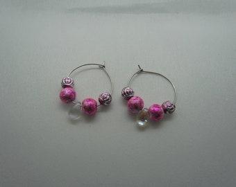Stainless Steel Hoops (Pink & Aurora Beads)