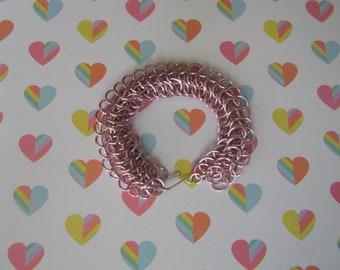 Pink Dragonback Chainmail Bracelet