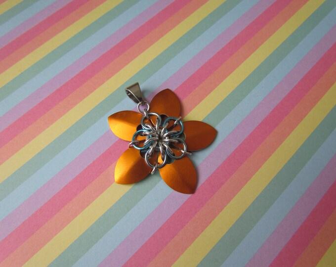 Scale Flower Pendant (Orange & Sky Blue)