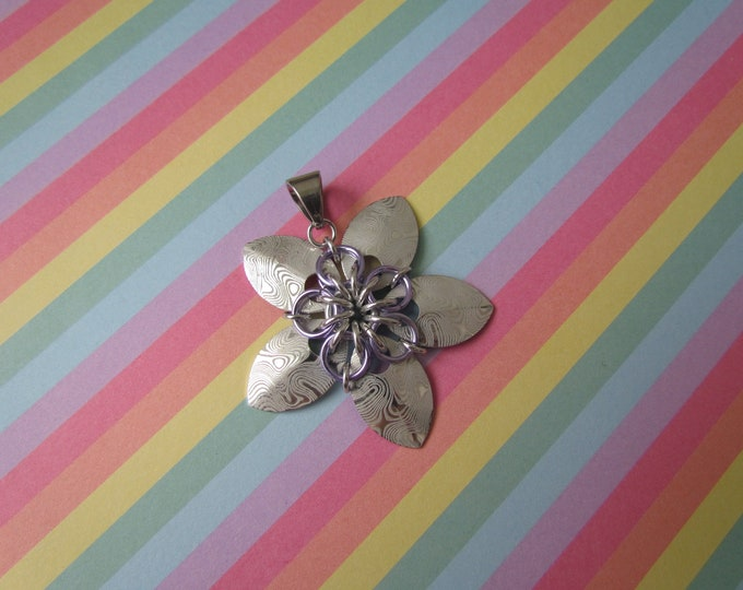Scale Flower Pendant (Silver Damascus/Lavender REVERSIBLE)