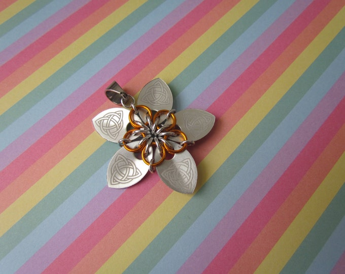 Scale Flower Pendant (Silver Celtic Knot/Orange REVERSIBLE)