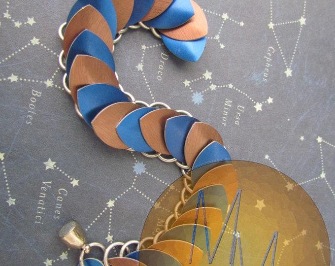 Blue & Bronze Scalemail Bracelet