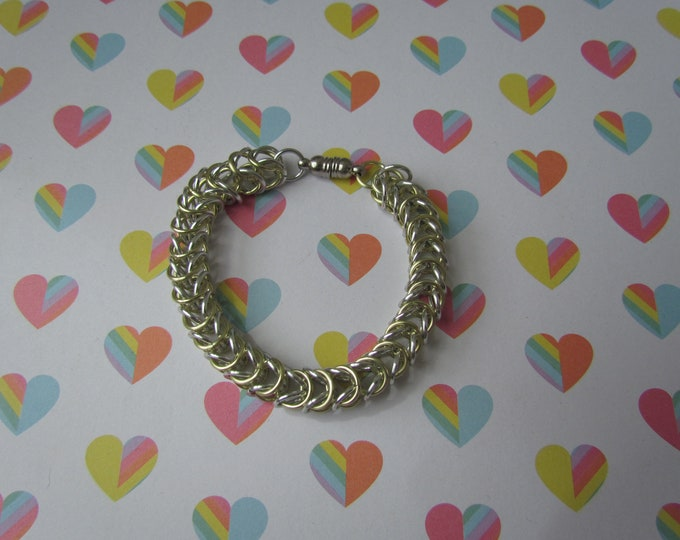 CLEARANCE - Box Chain Bracelet - Light Yellow & Silver