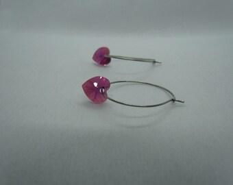 Stainless Steel Hoops (Hot Pink Swarovski Hearts)