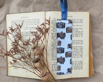 Fabric bookmark, vintage cameras, bookmark, photographer gift, eco friendly bookmark, husband stocking filler