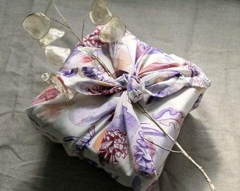 Furoshiki cloth, eco friendly gift wrap, multi-use square cloth, woodland watercolour print, 'Winter Vanilla', Christmas gift wrap reusable