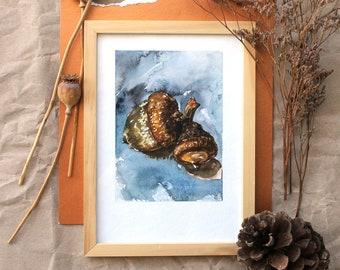 ORIGINAL watercolor painting, Acorn painting, cottagecore painting, watercolour forest painting, nature art