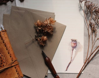 Letter writing set- Vintage-look botanical stationery, Autumn letter set, Plant stationery, set writing paper, A5 plus envelopes