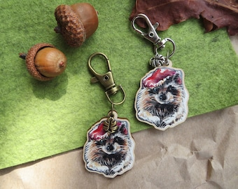 Autumn keyring, sustainable keyring, journal charm, sustainable wood charm, cute animal charm, cottagecore accessories