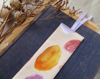 Fabric bookmark, watercolor abstract, bookmark, reading gift, eco friendly bookmark, sister stocking filler, nature pattern