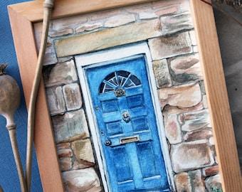 ORIGINAL watercolor painting, door painting, cottagecore painting, watercolour old door painting, housewarming gift