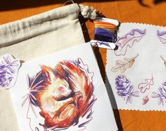 Sleeping squirrel embroidery kit, Autumn embroidery kit, eco embroidery kit, Fall craft kit
