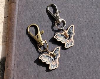 Halloween charm, antique brass or steel, bat charm, eco jewellery, Autumn birthday gift, Autumn planner charm, cute animal charm