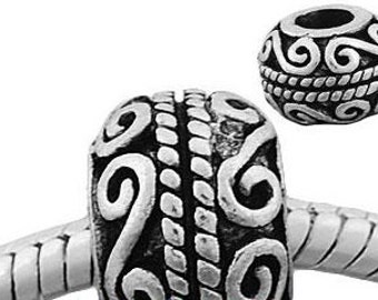 European Style Bead Charm for European Bracelet, Silver Plate, Twists and Turns, Great gift Idea