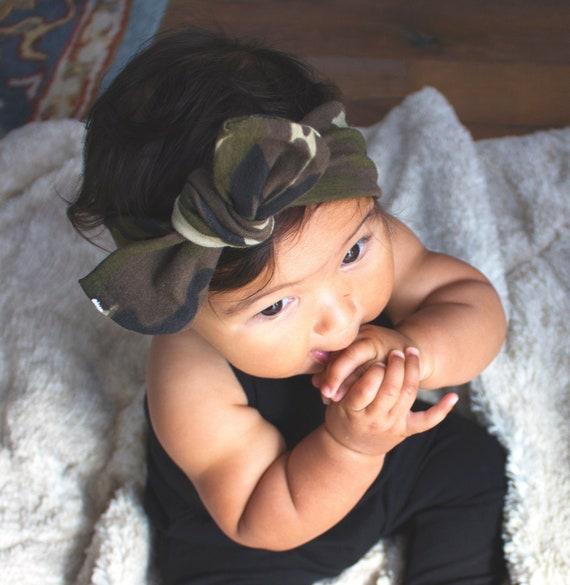 Girls camo headband baby girl clothes camo top knot headband  f156809d700