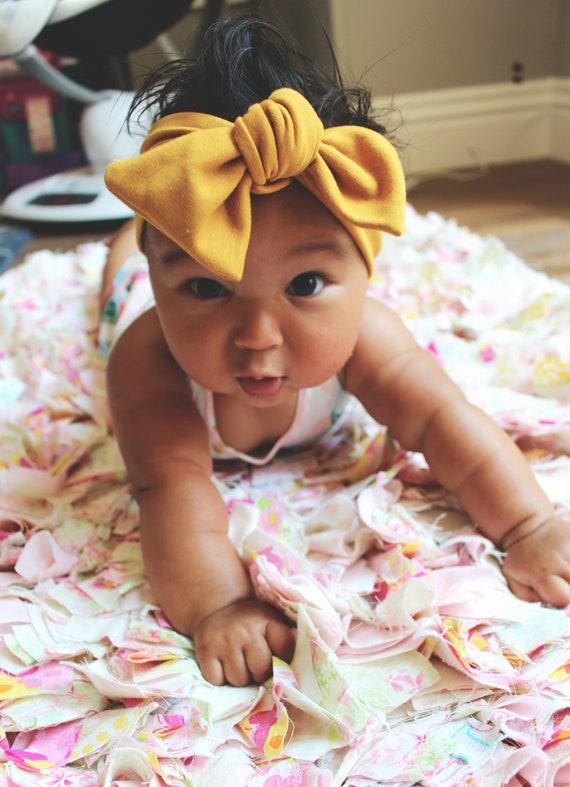 Mustard headband top knot headband baby girl headband  fcd49046fff