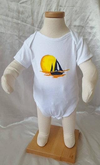 Boat Sailing at Sunset Baby Vest Handpainted - Shortsleeve