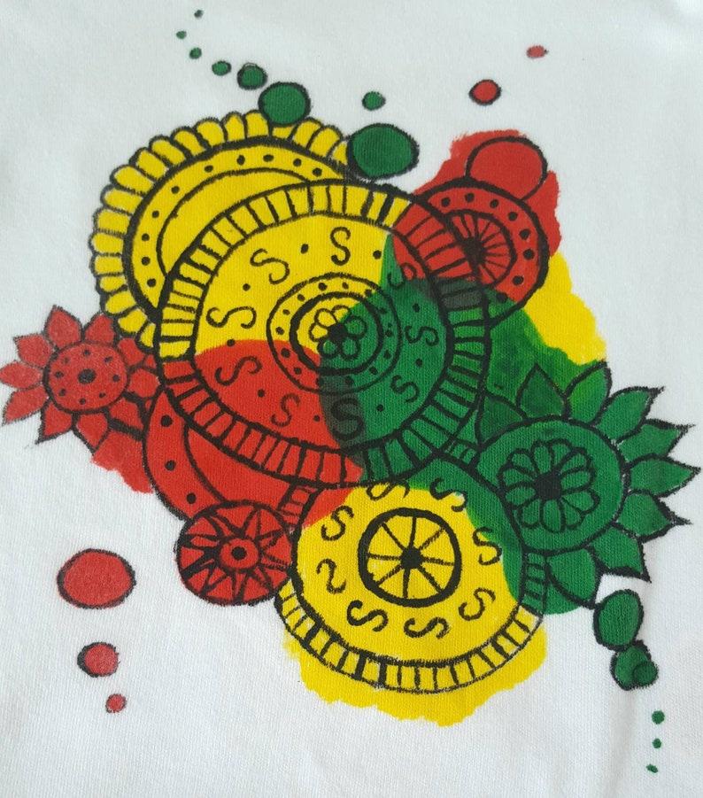 Shortsleeve Bodysuit Hand Painted Rare Find Red Yellow /& Green Mandalas
