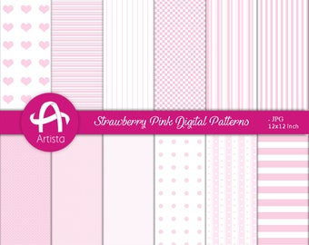 Digital PinkWhite Patterns Download Digi Instant Downloads Paper
