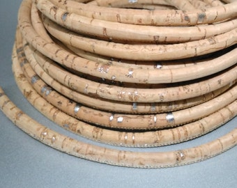 1m or 5m,  Portuguese Cork cord, natural tone with silver strokes,  5mm thickness for bracelets or necklaces (C5MM-8)