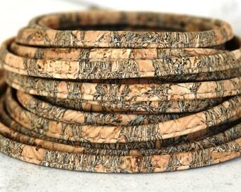 1 or 5 m, Portuguese cork cord, rustic, 6mm thickness, vegan, cork cord, Portugal (C6MM-8)