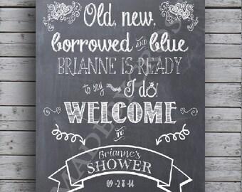 bridal shower chalkboard art welcome sign print