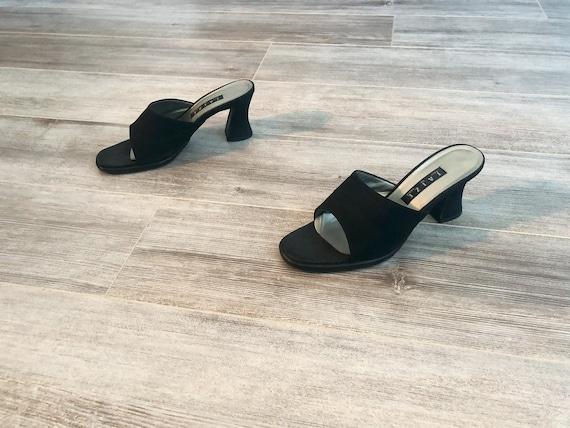 vintage 1990 90s black suede slip on high heel mul