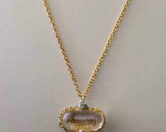Golden Sand Glass Golden Chain necklace