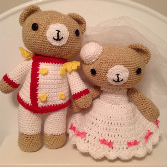 Crochet Wedding Bear Couple Pdf Pattern Amigurumi Great Etsy