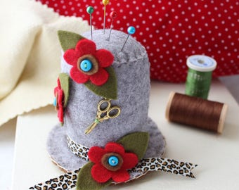 Felt Pincushion Sewing Gift, Grey Hat Pin Cushion with Red Flowers & Leopard Print Ribbon, Floral Pincushion Craft Room Decor