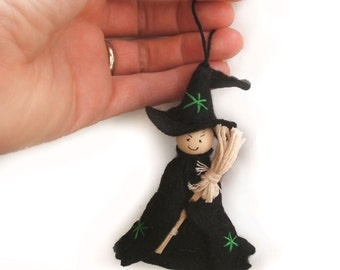 Happy Halloween Cute Witch Hanging Decoration with Witches Broomstick, Choose from 3 different colours, Felt Witch Ornament, Halloween Decor