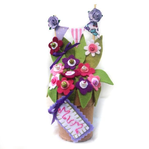 Unique Mothers Day Gift Personalised Felt Flower Pot of Pink  Etsy