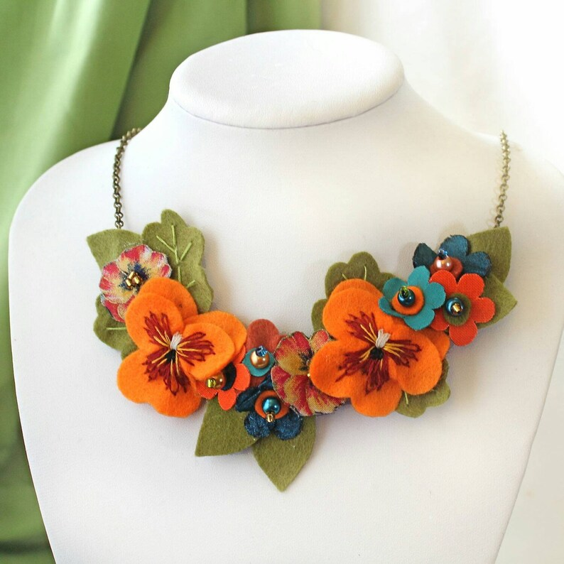 Colourful Statement Necklace with Hand Embroidered Orange image 1