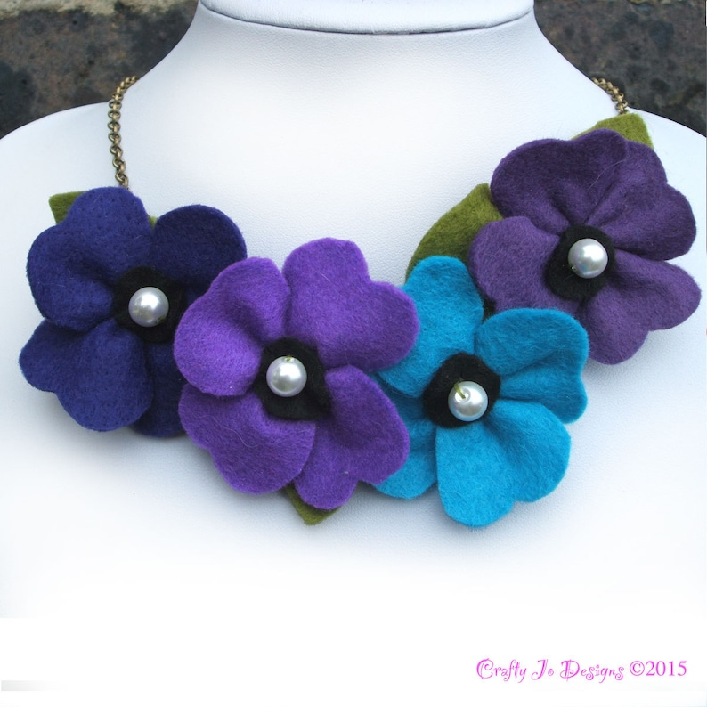 Purple and Teal Flower Necklace Poppies and Pearls Felt Jewelry Large Bib Necklace Purple Poppy Necklace Felt Flower Statement Necklace