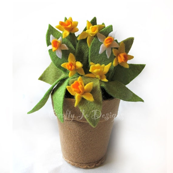 Felt Daffodil Pot Spring Wedding Flower Pot Felt Ornament Etsy