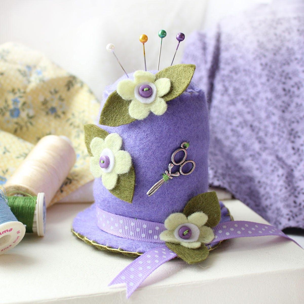 0666f93092761 Felt Pin Cushion Lavender Hat Sewing Pincushion with Lemon