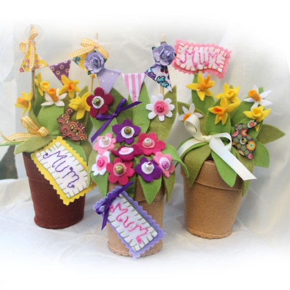 225 & Personalized Mum Gifts Felt Daffodil Flower Pot Spring Flowers Floral Arrangement Mums Birthday Unique Gift Easter Present