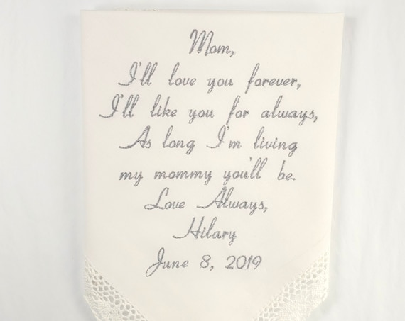 Hankerchief gift Mother of the Bride Gift from daughter Embroidered wedding handkerchief personalized from the Bride to Mom Napa Embroidery