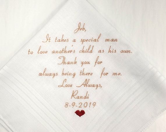 Step Father of the Bride Hankerchief Gift Step Dad Wedding Gift Embroidered Wedding Personalized Handkerchief Custom Embroidery Hankies