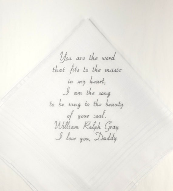 Favorite Quote Wedding Gift for Father of the Bride Personalized Wedding Handkerchief for Dad on Etsy By Napa Embroidery Wedding Hankerchief