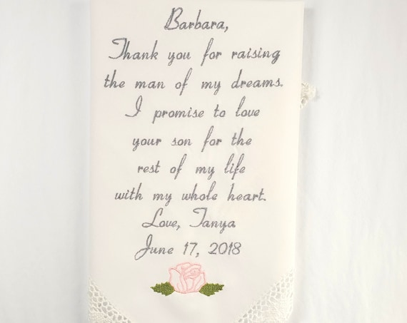 Mother of the groom gift Embroidery Gift for Mother in law wedding gift Embroidered wedding Hankerchief Personalized printed Handkerchief