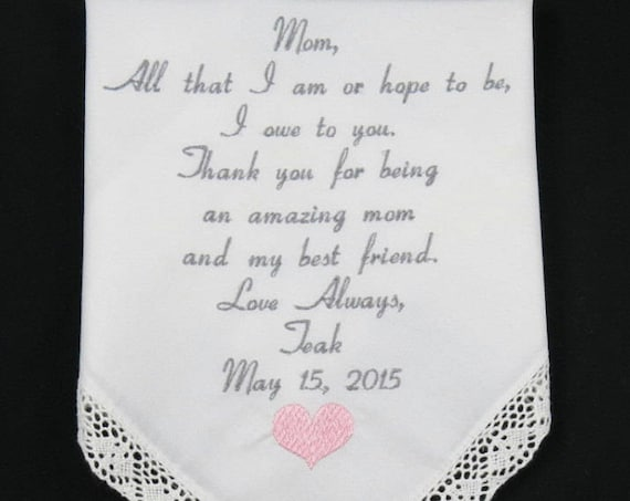Mother of the Bride Handkerchief Wedding Present for Mom Embroidered Personalized Hankerchief gift for Mother Printed Embroidery