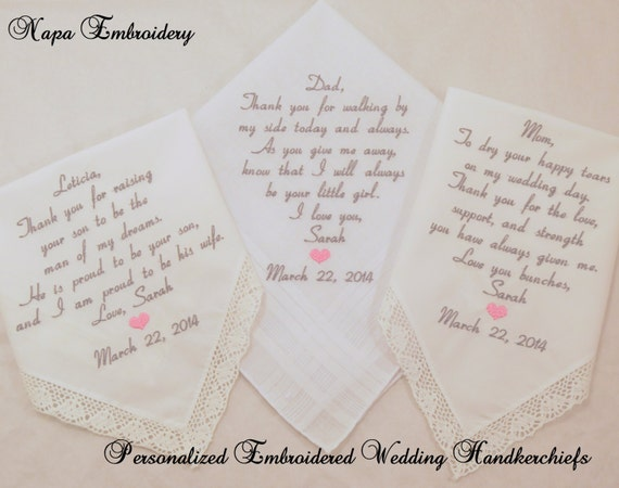 Embroidered Wedding Handkerchiefs Personalized for Mother Father in law Mom Dad of the bride Gifts By Napa Embroidery
