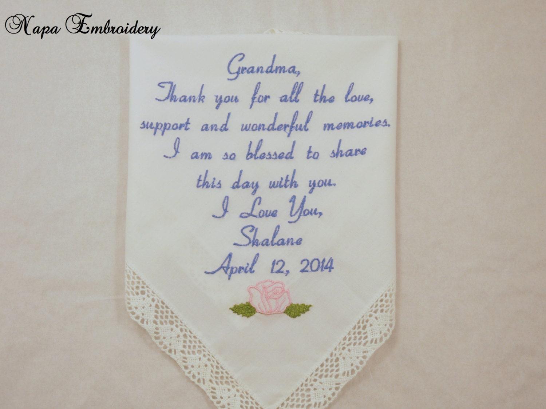 Grandmother Wedding Gift: Gifts For Grandma Embroidered Wedding Handkerchief Great