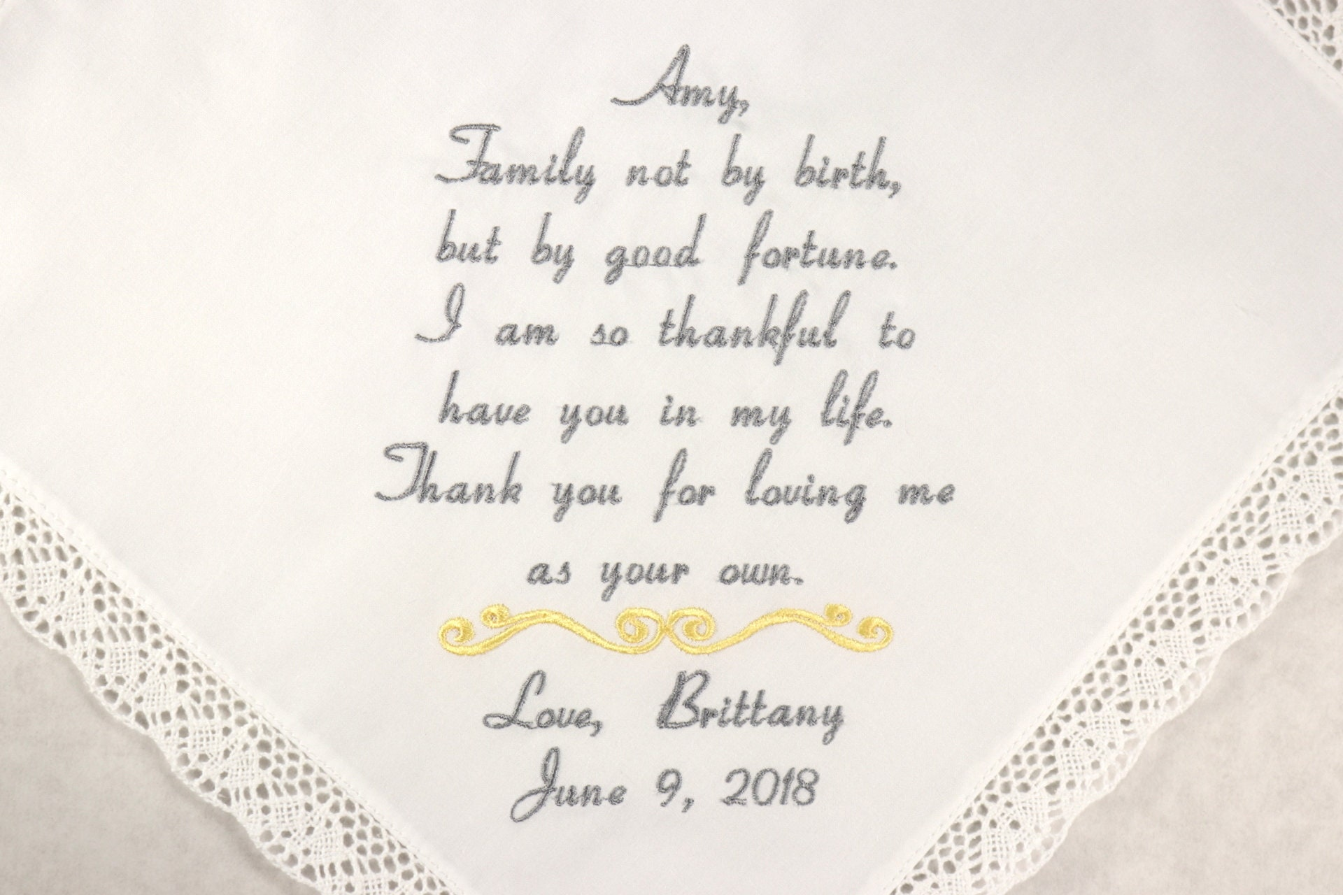Wedding Gift For Dad And Stepmom: Wedding Gift For Step Mom Embroidered Handkerchief