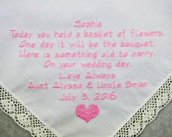 Embroidered Wedding Hankerchief Flower Girl Handkerchief Printed Embroidery FlowerGirl Poem Personalized Wedding Gift Bridesmaid