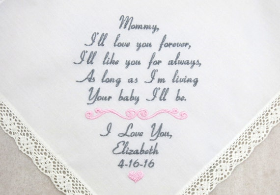 Mother of the bride gift Embroidered Wedding Hankerchief Personalized Handkerchief gift for Mom from Daughter Wedding Gift Napa Embroidery